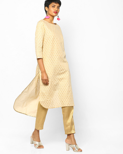 Printed High-Low Kurta By PE IW Evening ( Beige )