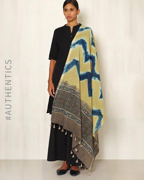Ajrak Handblock Print Shibori Cotton Dupatta By Indie Picks ( Indigo ) - 460045122001