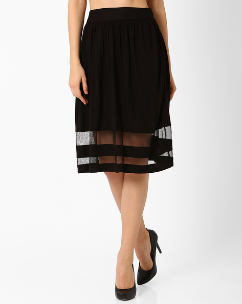 Pleated Mesh A-line Skirt By Candies By Pantaloons ( Black )