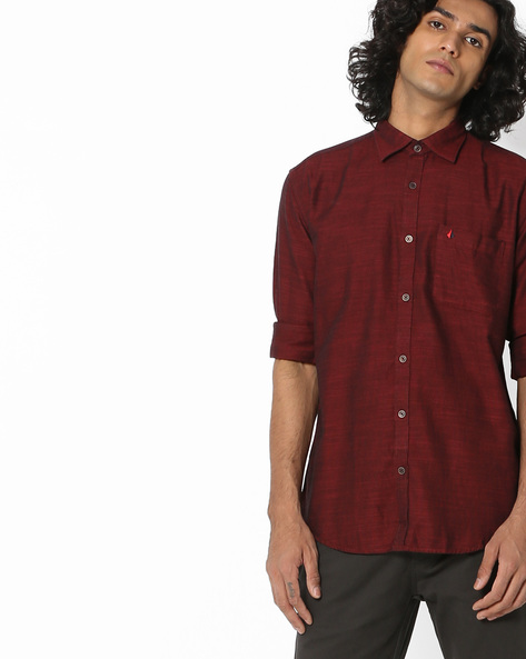 Textured Slim Fit Shirt With Patch Pocket By British Club ( Red )