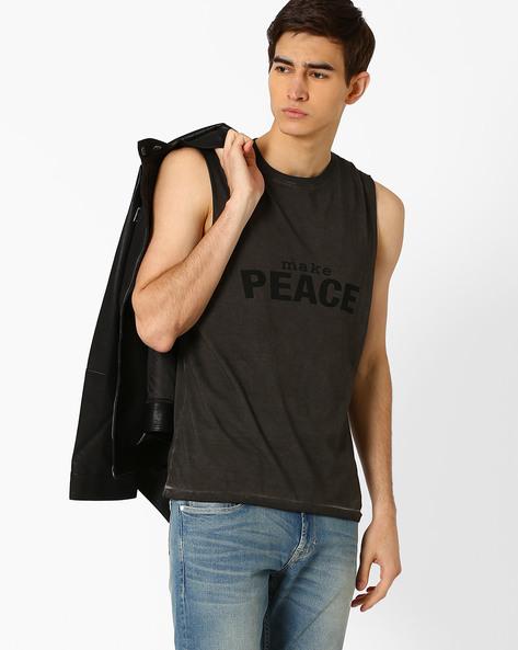 Graphic Print Sleeveless T-shirt By AJIO ( Charcoal )