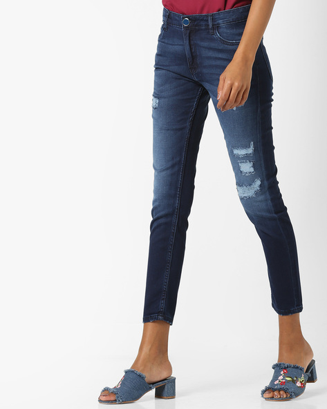 Lightly Washed Distressed Jeans By Tokyo Talkies ( Navyblue )
