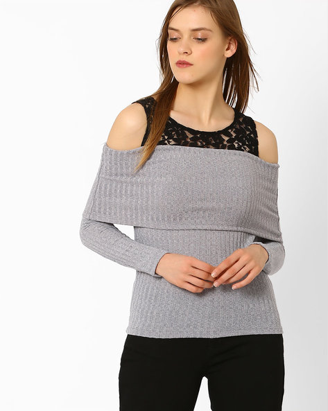 Cold-Shoulder Sweater With Lace Yoke By AJIO ( Grey )