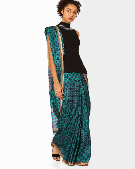 Malbari Silk Printed Saree By Florence ( Blue )