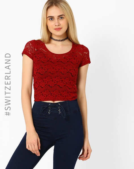 Lace Crop Top By TALLY WEiJL ( Red )