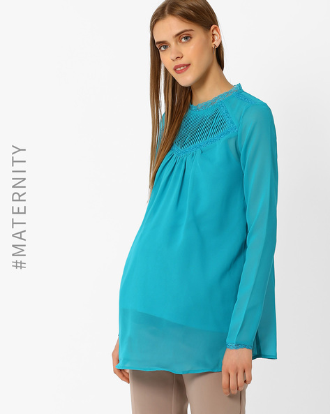 Maternity Top With Lace Trim By Oxolloxo ( Peach )