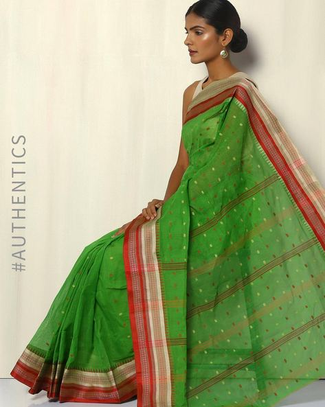 Bengal Handloom Tant Tangail Buti Cotton Saree By Indie Picks ( Green ) - 460093863001