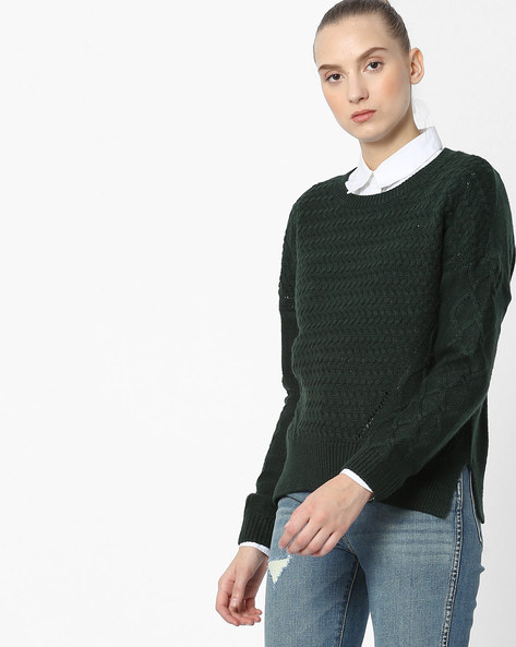 Knitted Pullover With Ribbed Hems By Only ( Dkgreen )