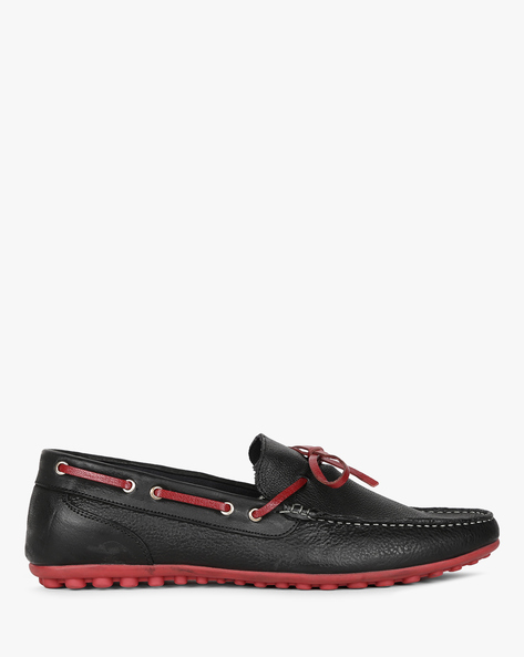 Genuine Leather Loafers With Bow Detail By Hats Off Accessories ( Black )