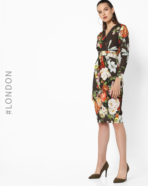 Floral Print Wrap Dress With Pleats By Closet London ( Multi )