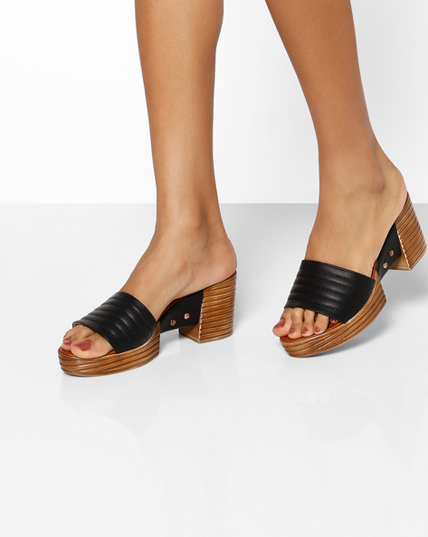 Platform Sandals With Stacked Heels By MFT Couture ( Black )