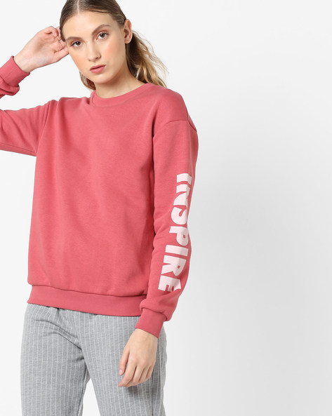 Crew-Neck Sweatshirt With Typography By Femella ( Rose )