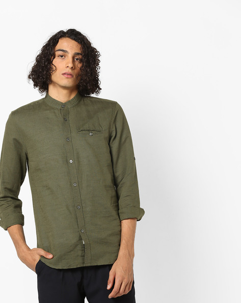 Slim Fit Shirt With Mandarin Collar By Jack & Jones ( Olive )