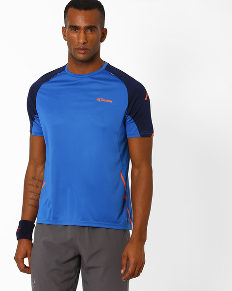 Colourblock Crew-Neck T-shirt By PERFORMAX ( Blue )