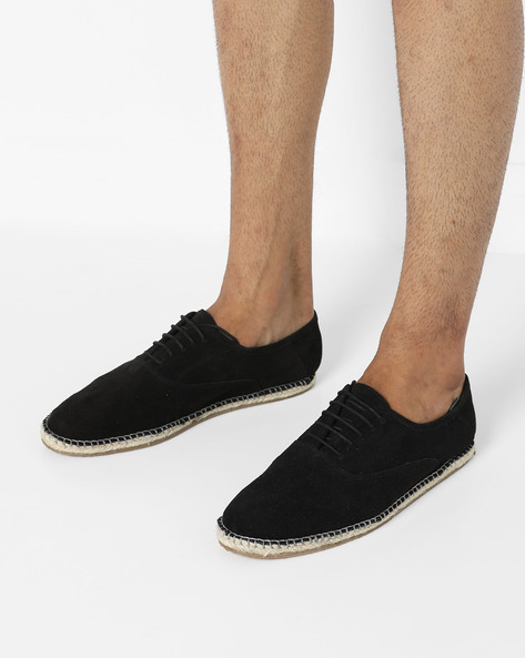 Suede N9-Treated Lace-Up Espadrilles By AJIO ( Black )