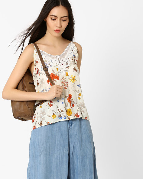 Floral Print Top With Crochet Yoke By Ginger By Lifestyle ( Orange )