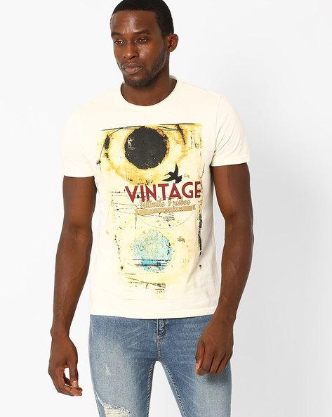 Vintage Print Cotton T-shirt By AJIO ( Offwhite )
