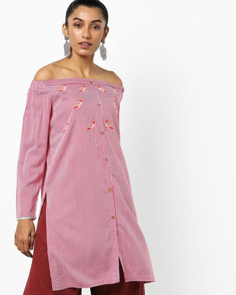 Striped Off-Shoulder Kurta With Embroidery By AJIO ( Fuchsia )
