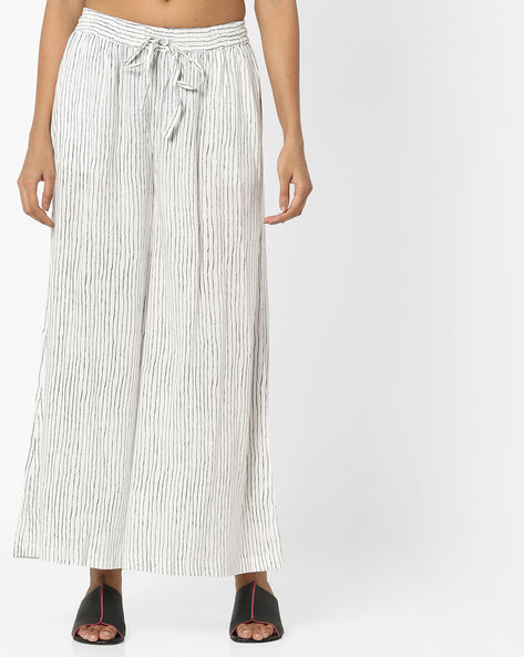 Striped Palazzos With Elasticated Waist By Project Eve IW Casual ( Offwhite )