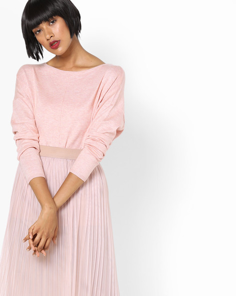 Top With Drop-Shoulder Sleeves By SAINT TROPEZ ( Peach )
