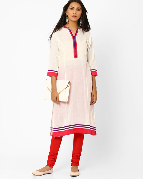 Self-Striped Kurta With Embroidered Collar By AJIO ( Offwhite )
