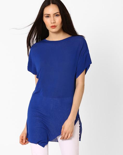 Ribbed Asymmetrical Top By AJIO ( Blue )