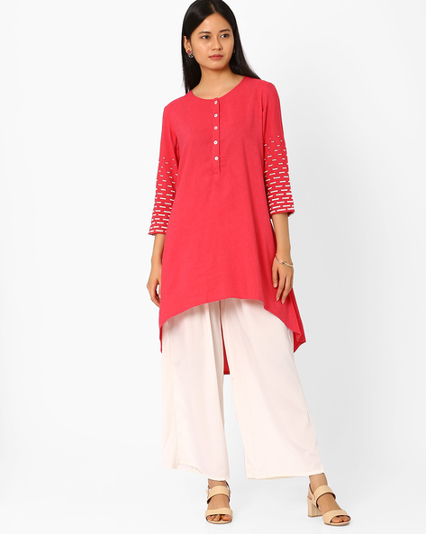 Embroidered High-Low Tunic By Global Desi ( Pink )