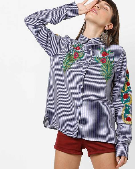 Striped Shirt With Floral Embroidery By Rena Love ( Blue )