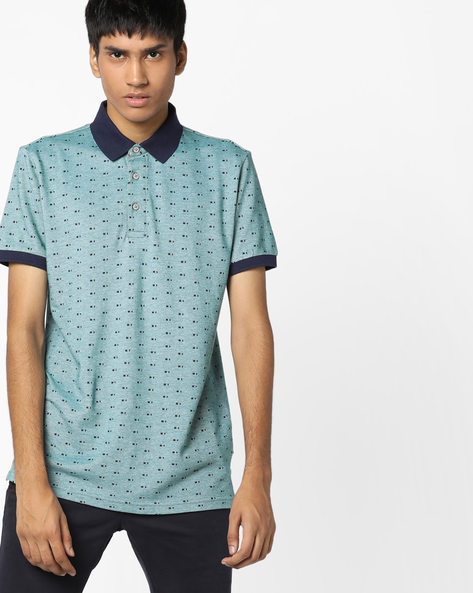Printed Polo T-shirt With Contrast Collar By UNITED COLORS OF BENETTON ( Green )