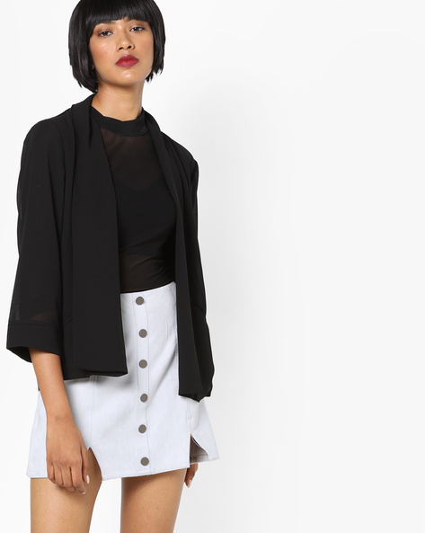 Open-Front Blazer With Sheer Sleeves By SAINT TROPEZ ( Black )