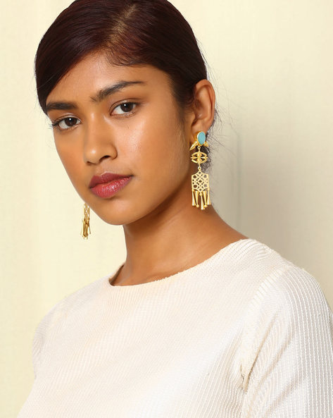 Gold-Plated Drop-Earrings With Cutwork & Stone By Indie Picks ( Blue )
