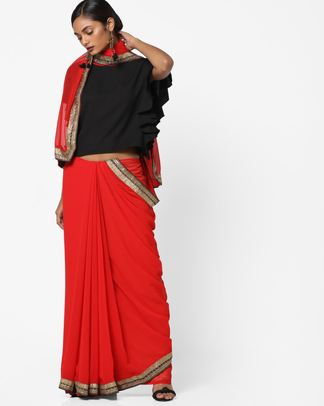 Embroidered Saree With Contrast Border By Florence ( Red )