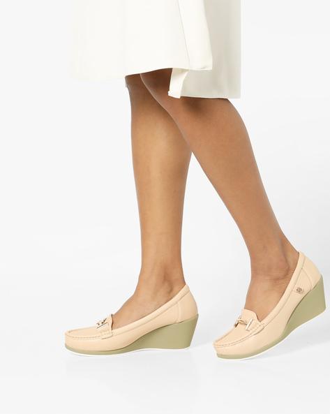 Wedge-Heeled Bit Loafers By Carlton London ( Beige )