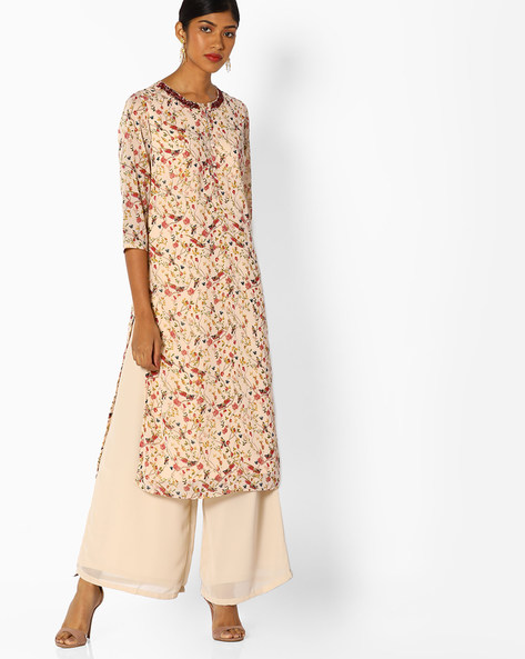 Floral Print Kurta With Embroidery By AJIO ( Offwhite )
