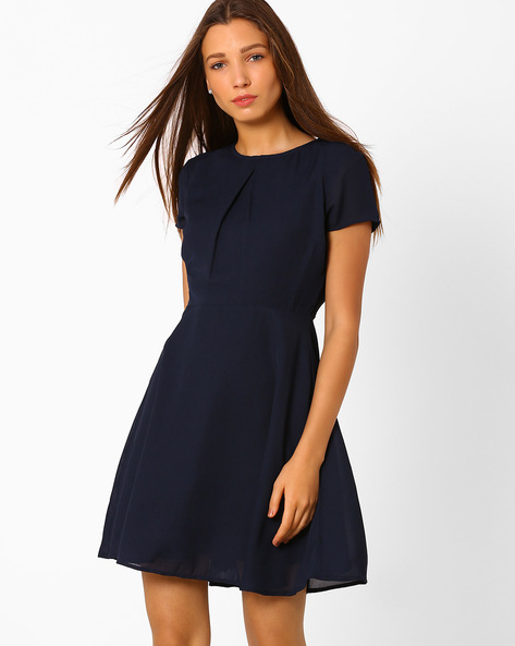 Fit & Flare Dress With Lace Detail By Vero Moda ( Blue )