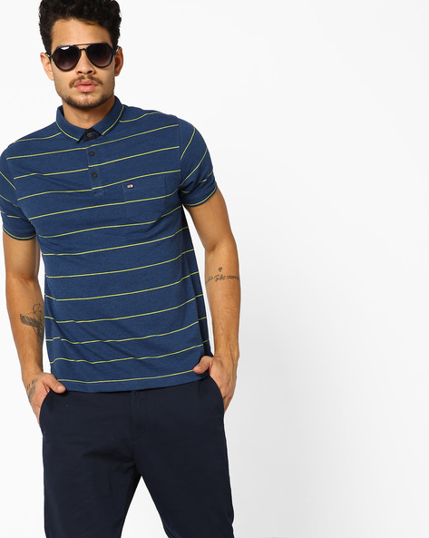 Striped Polo T-shirt With Patch Pocket By Fort Collins ( Navyblue )