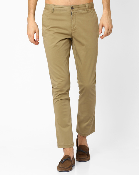 Mid Rise Slim Fit Stretch Chinos By AJIO ( Beige )