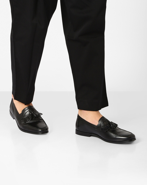 Genuine Leather Tasseled Loafers By HATS OFF ( Black )