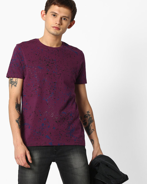 Printed Slim Fit Cotton T-shirt By SPYKAR ( Purple )