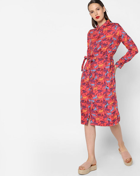 Printed Shirt Dress With Tie-Up Belt By AJIO ( Coral )