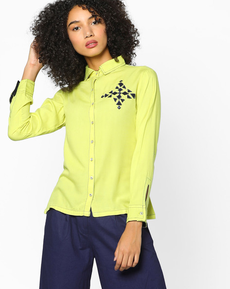 Shirt With Applique Motifs By Indian Ink ( Limegreen )
