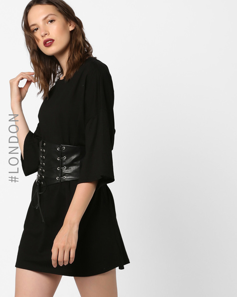 Dress With Tie-Up Waist Corset By Glamorous ( Black )