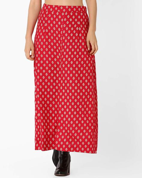 Printed Maxi Skirt With Front Slit By AJIO ( Red )