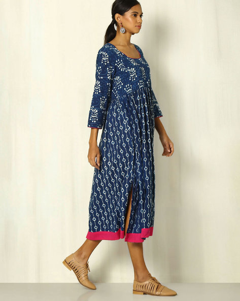 Handblock Print Indigo Cotton Dress With Contrast Trims By Indie Picks ( Indigo )