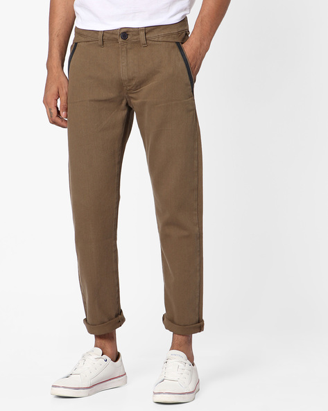 Slim Fit Cotton Twill Jeans By Blue Saint ( Brown ) - 460122806002