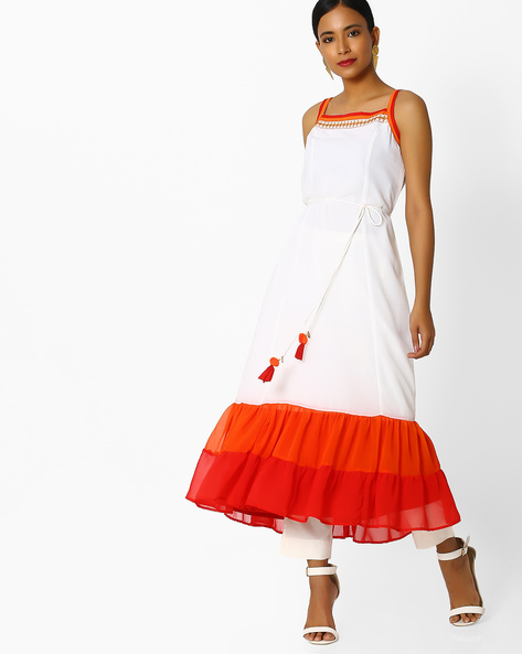Strappy Dress With Tasseled Tie-Up By Indian Ink ( Offwhite )