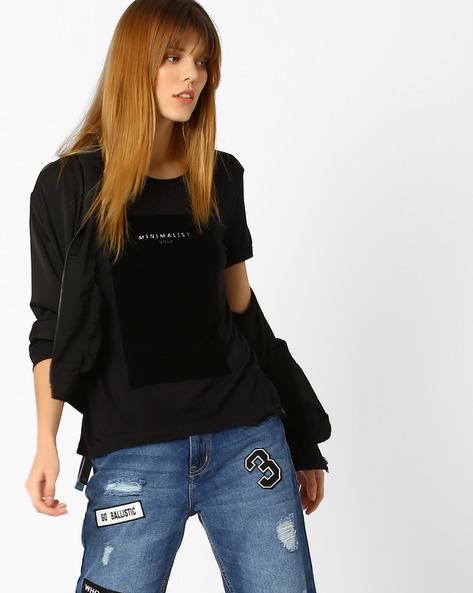 Crew-Neck T-shirt With Typographic Print By Vero Moda ( Black )