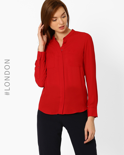 Top With Curved Hem By Marks & Spencer ( Red )