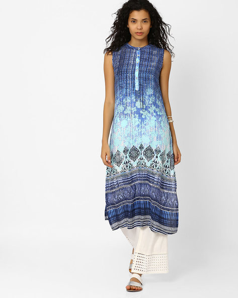 Printed Sleeveless Kurta By Global Desi ( Blue )