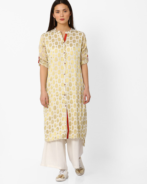High-Low Straight Kurta By Indian Ink ( Offwhite )